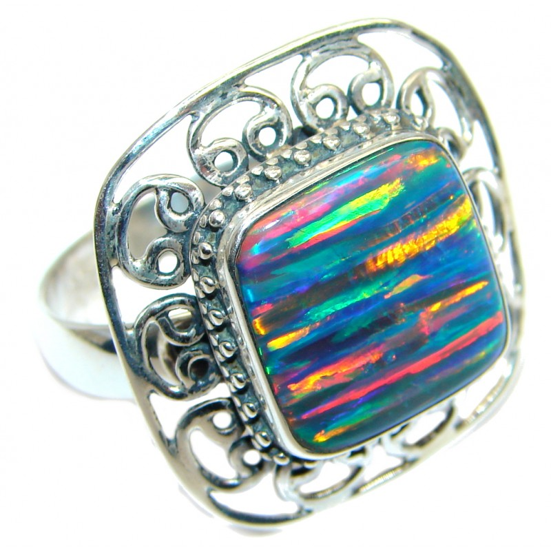Floral Design Lab. Japanese Fire Opal Sterling Silver ring s. adjustable