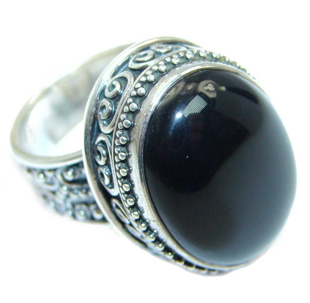 Huge Black Onyx Sterling Silver Handmade Ring Size