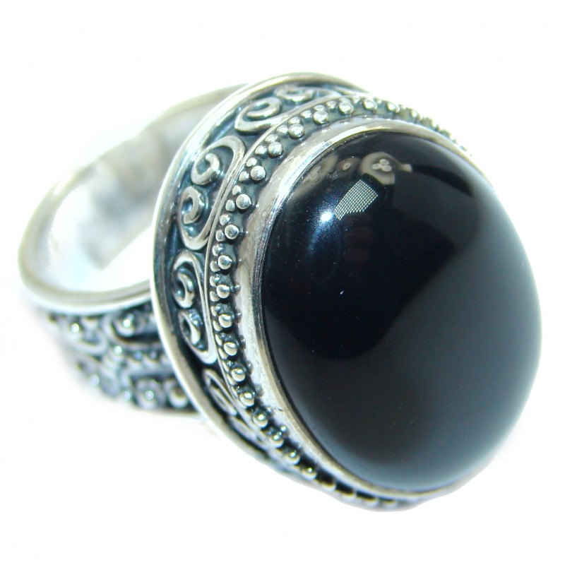 Huge Black Onyx Sterling Silver handmade ring size adjustable