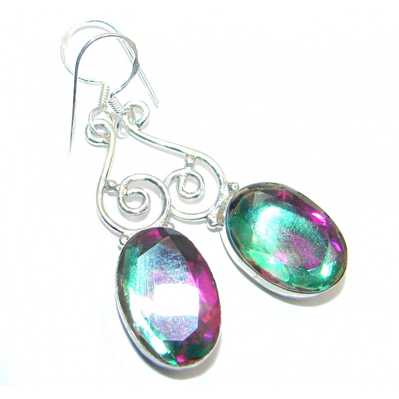 Rainbow Magic Topaz Sterling Silver hancrafted earrings