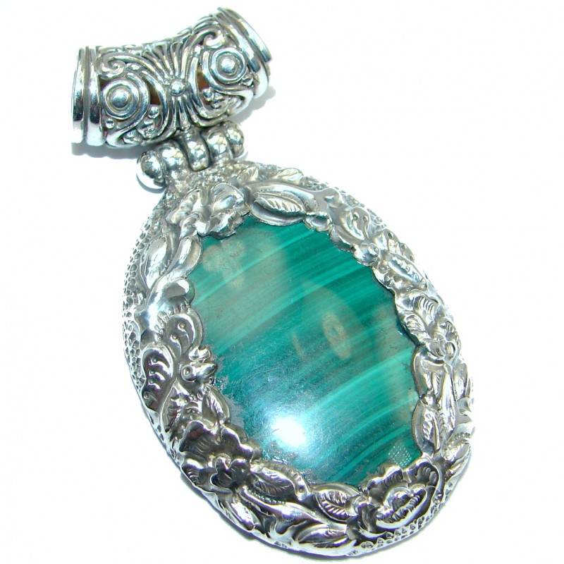 Rich Floral Design Green Malachite Sterling Silver handmade Pendant