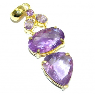 Vintage Style Amethyst Gold plated over Sterling Silver handmade Pendant