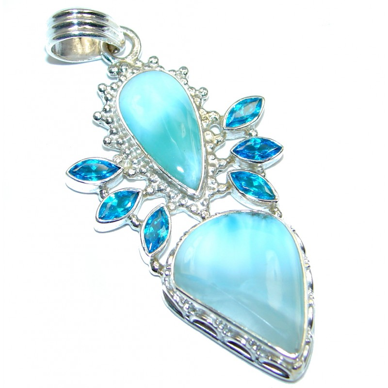 Natural AAA Blue Larimar Swiss Blue Topaz Sterling Silver Pendant