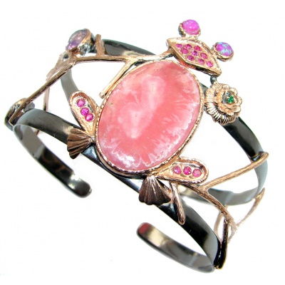 Chunky Pink Frog Rhodochrosite Red Garnet Gold Rhodium plated over Sterling Silver Bracelet