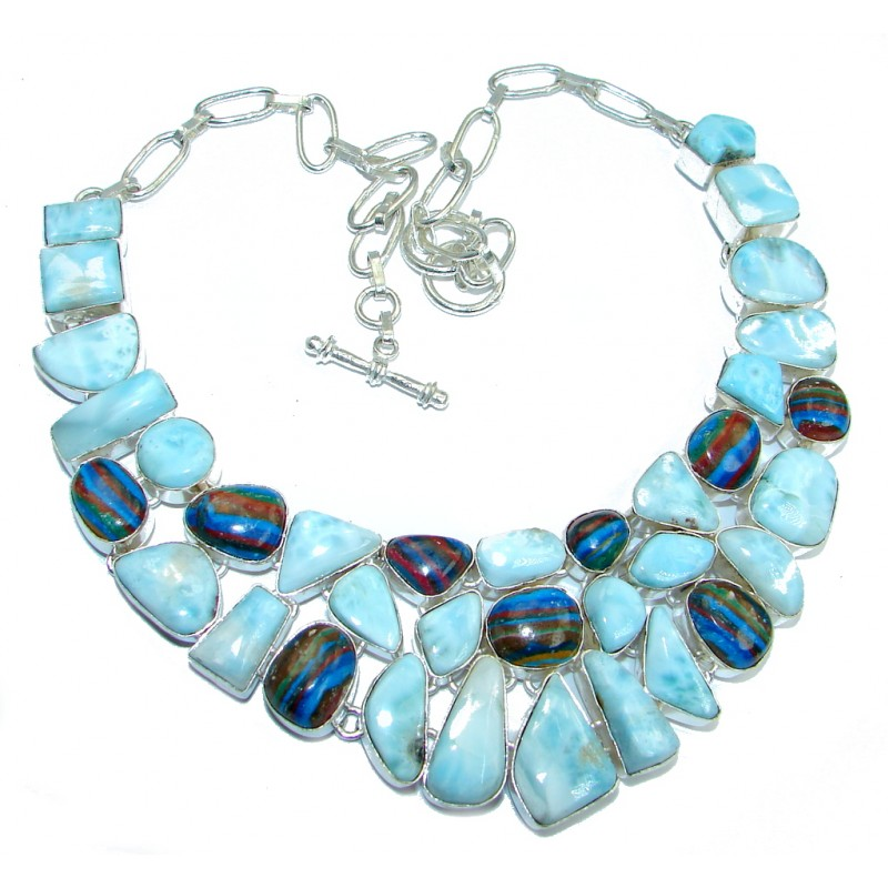 Mega Chunky Larimar Rainow Calsilica Sterling Silver handcrafted necklace