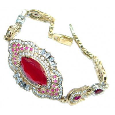 Flawless Passion Red created Ruby Rose Gold Rhodium plated over Sterling Silver Bracelet