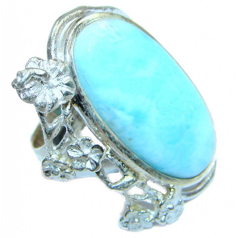 Huge Floral Genuine Larimar Sterling Silver handmade Ring size 7