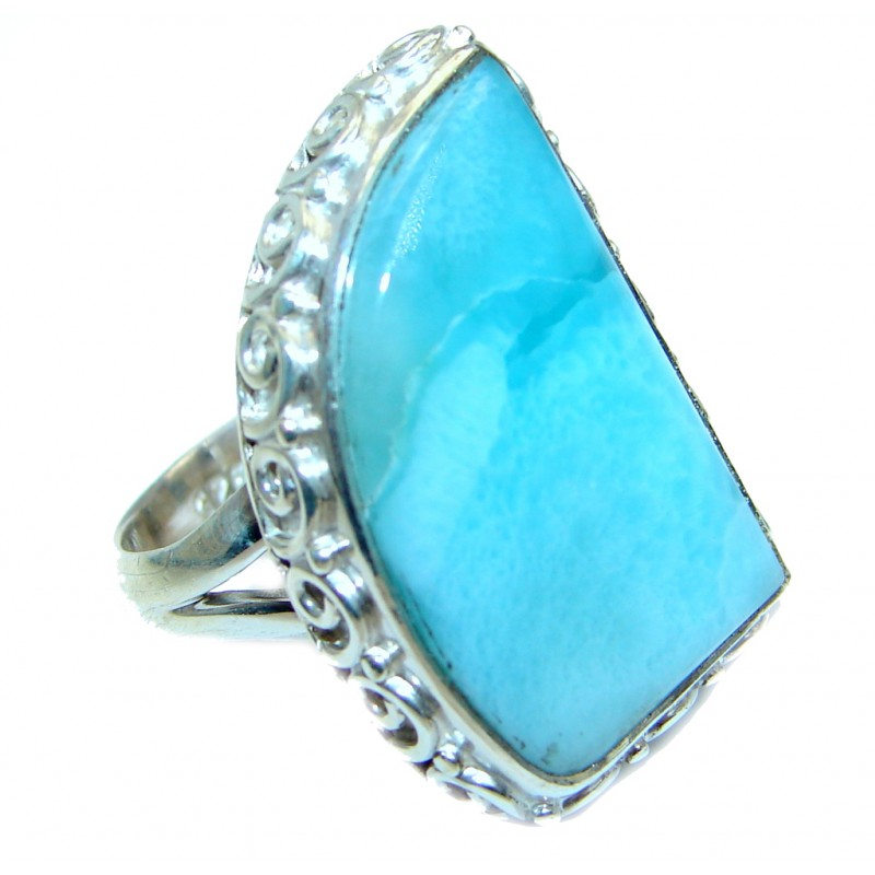 Genuine Larimar Sterling Silver handmade Ring size 7