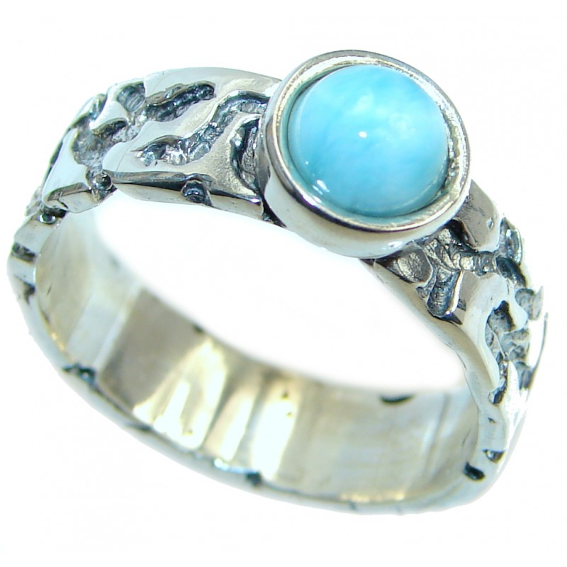 Genuine Larimar Oxidized Sterling Silver handmade Ring size 8