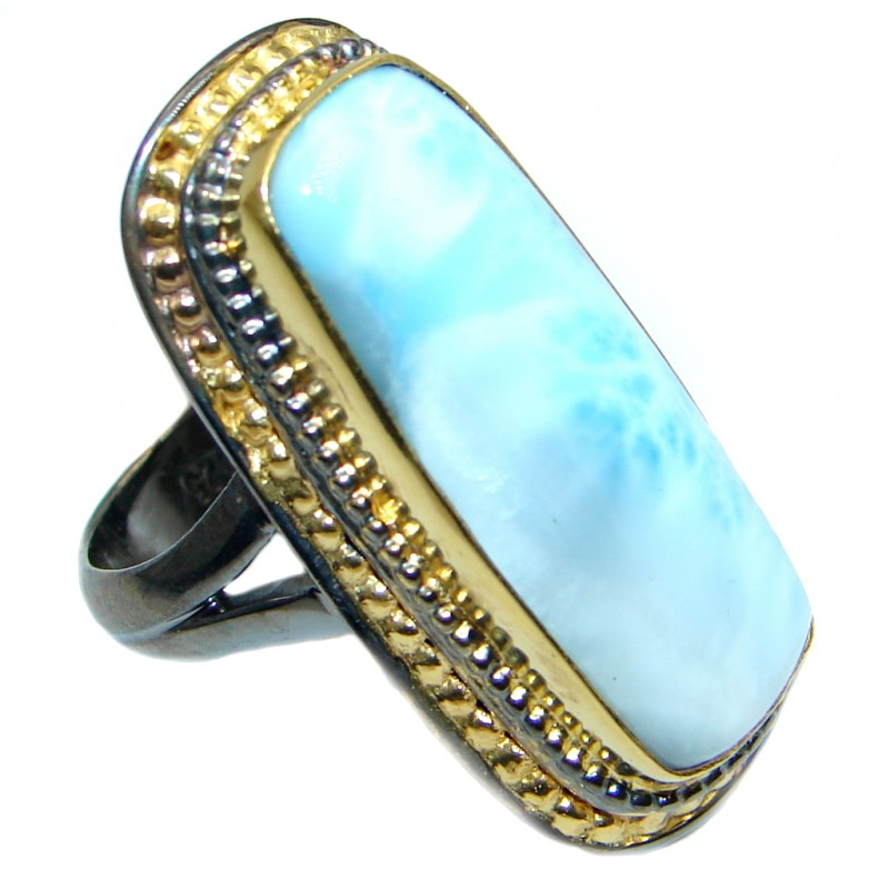 Vintage Style Larimar Gold Rhodium plated over Sterling Silver Ring size adjustable
