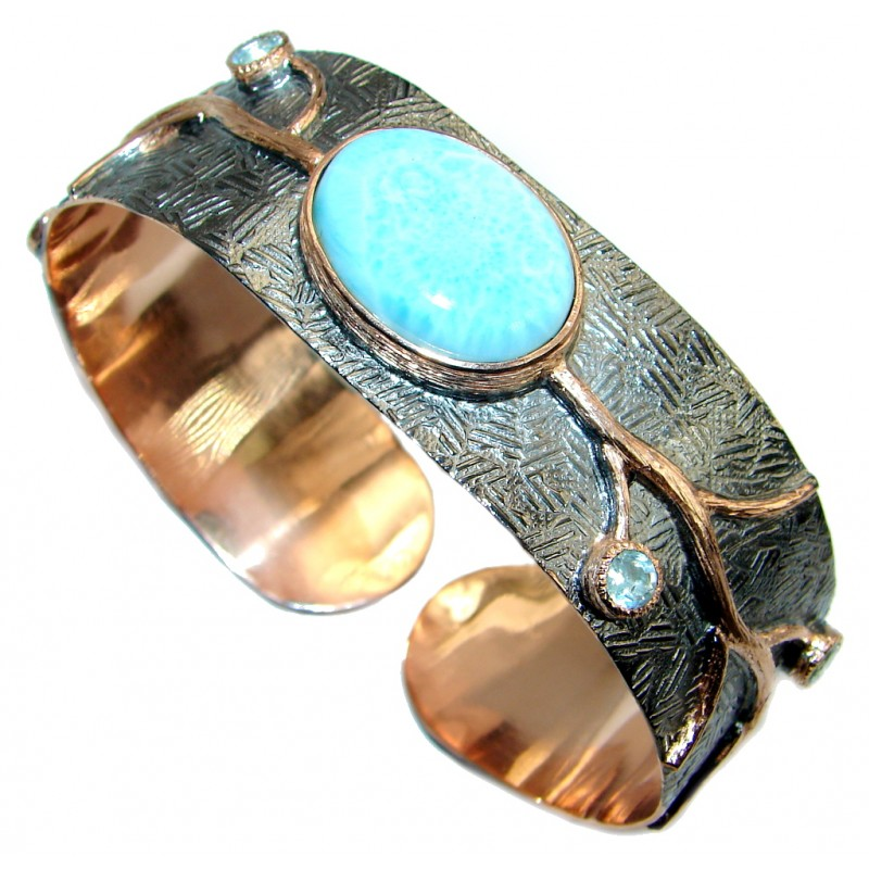 Genuine Blue Larimar 18 ct Rose Gold Rhodium plated over Sterling Silver handmade Bracelet Cuff