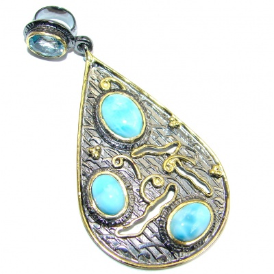 Enchanted genuine Larimar Swiss Blue Topaz Sterling Silver handmade Pendant