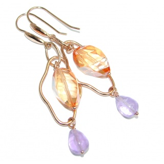 Handcrafted Yellow Golden Topaz Amethyst Gold plated over Sterling Silver earrings