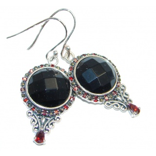 Perfect Aura Black Onyx Garnet Sterling Silver earrings