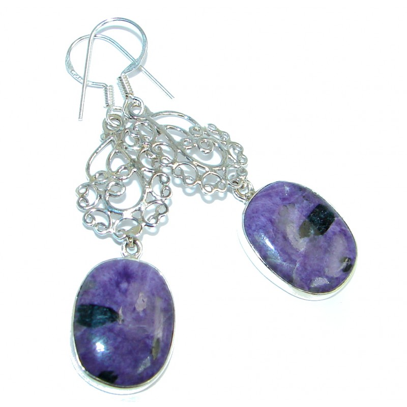 Precious genuine Purple Charoite Sterling Silver handmade earrings