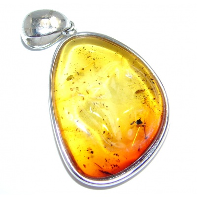 Sunset natural Baltic Amber Sterling Silver handmade Pendant