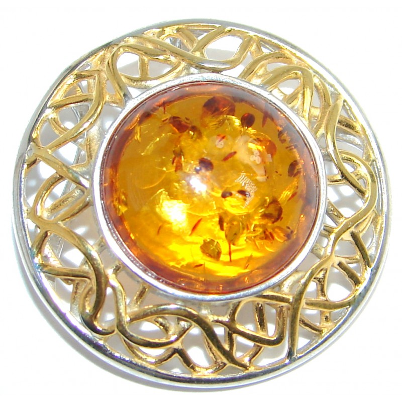 Sublime natural Baltic Amber Two Tones Sterling Silver handmade Pendant