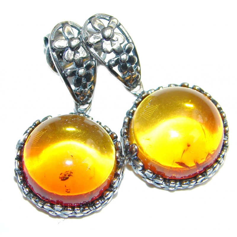 Vintage Design Polish Amber Oxidized Sterling Silver handcrafted stud Earrings