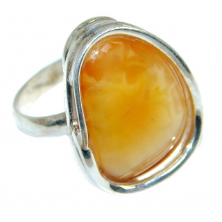 Genuine Butterscoth Baltic Polish Amber Sterling Silver handmade Ring size 6 1/4