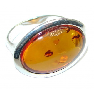 Genuine Butterscoth Baltic Polish Amber Sterling Silver handmade Ring size 7 1/4