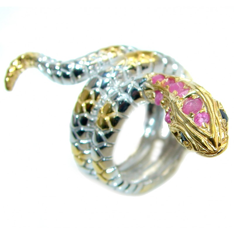 Amazing Ruby Saphire Snake Two Tones Sterling Silver Ring s. 6
