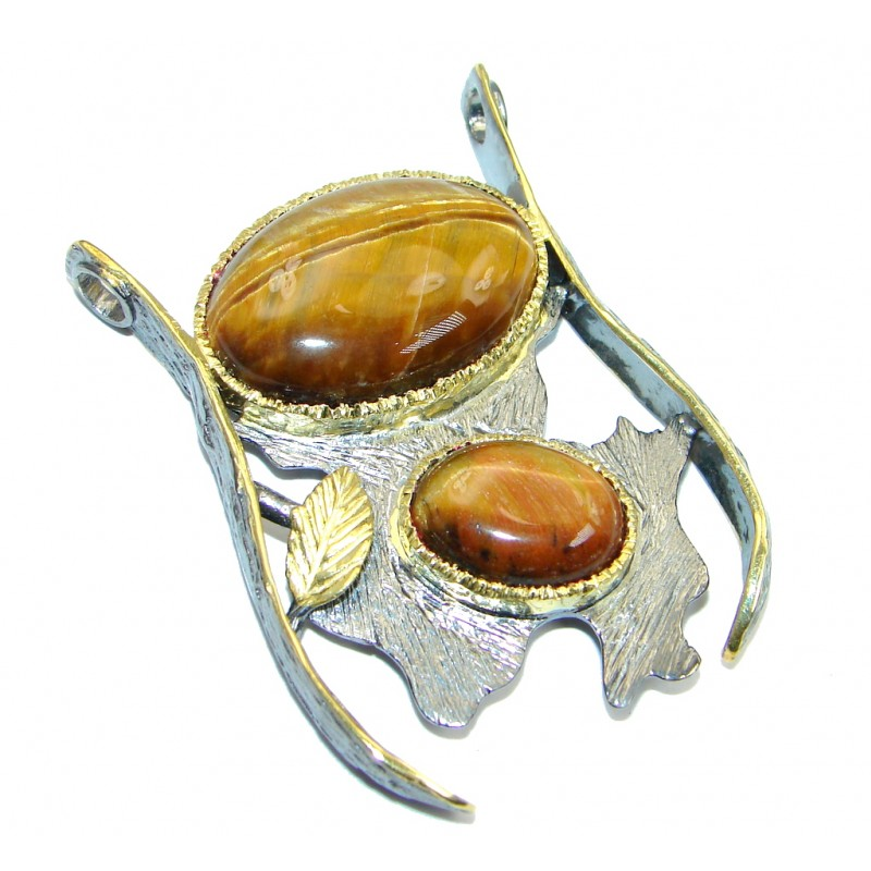 Oversized Golden Tigers Eye Gold Rhodium plated over Sterling Silver handmade Pendant