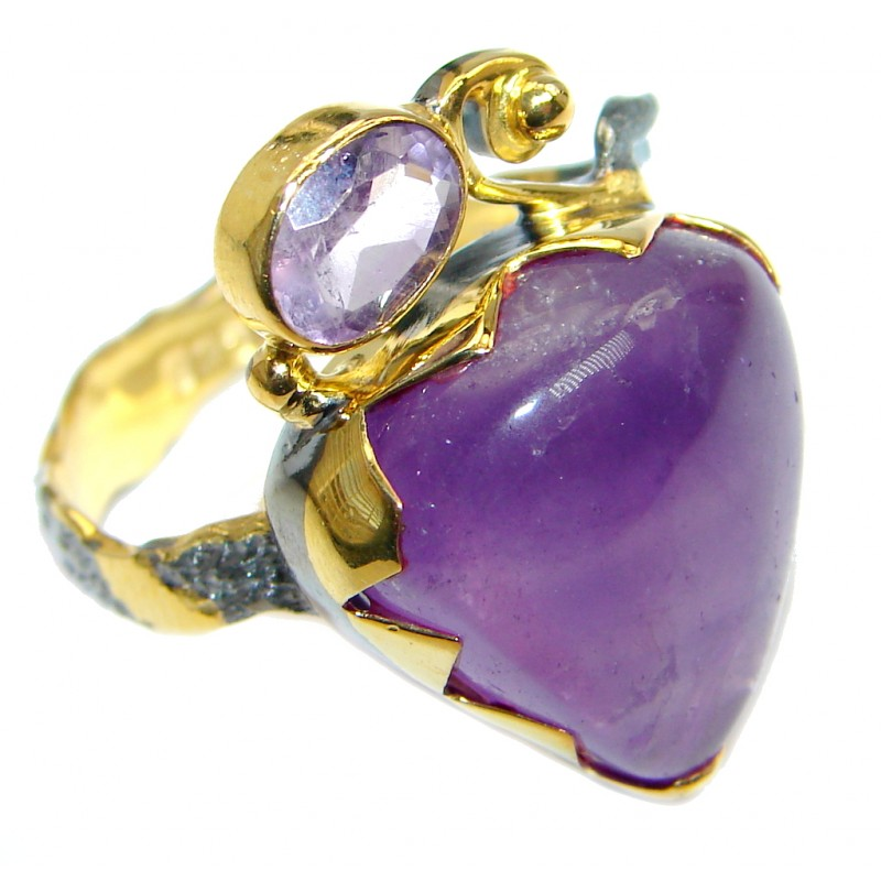 Genuine Amethyst Gold Rhodium plated over Sterling Silver handmade ring size 8 1/2