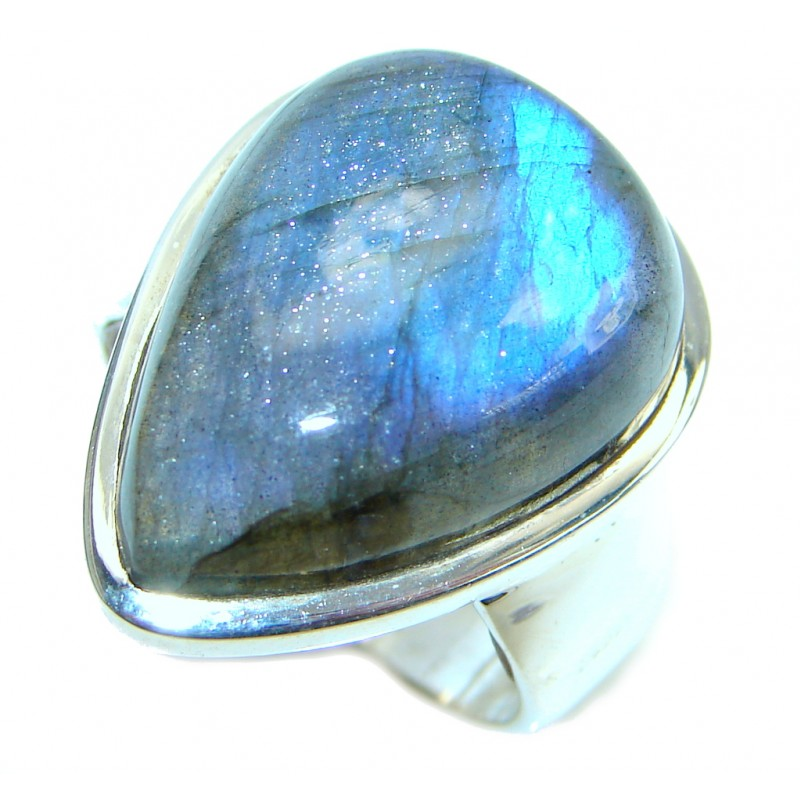 Natural Fire Labradorite Sterling Silver handcrafetd ring size 8