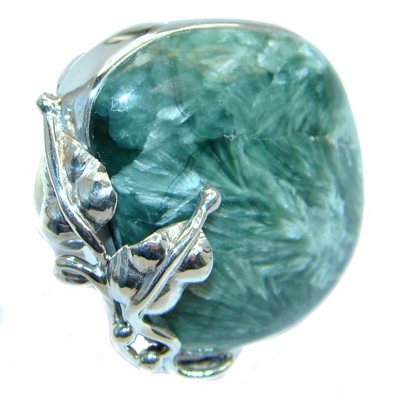 Amazing Florad design Genuine Seraphinite Sterling Silver Ring size adjustable