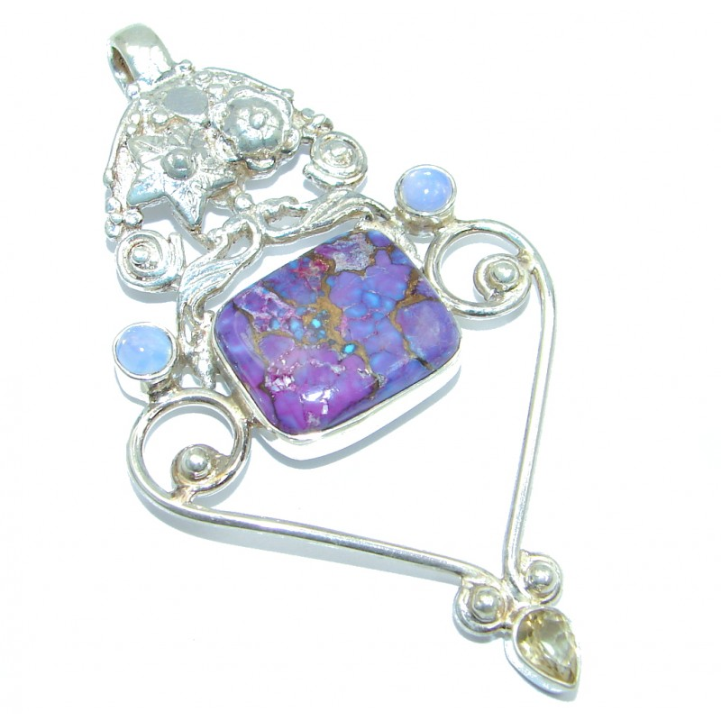 Oriental Design Genuine Purple Turquoise Sterling Silver handmade Pendant