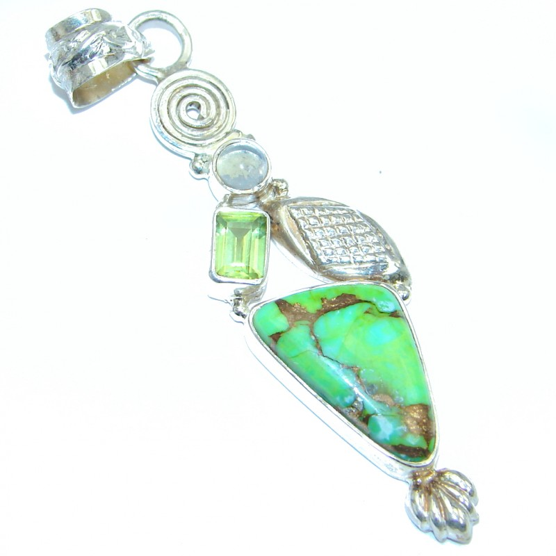 Genuine Peridot Turquoise Sterling Silver handmade Pendant