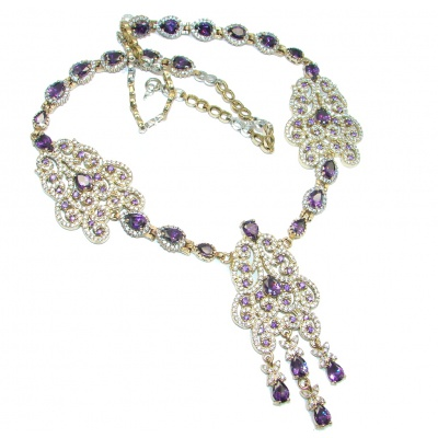 Huge Victorian created Amethyst & White Topaz Sterling Silver handcrafted necklace