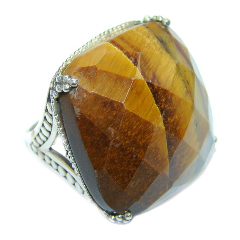 Chunky faceted Golden Tigers Eye Sterling Silver ring s. 9