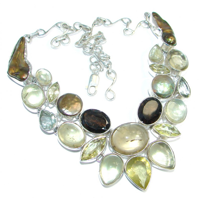 Aura Of Beauty genuine Multigem Sterling Silver handcrafted Necklace