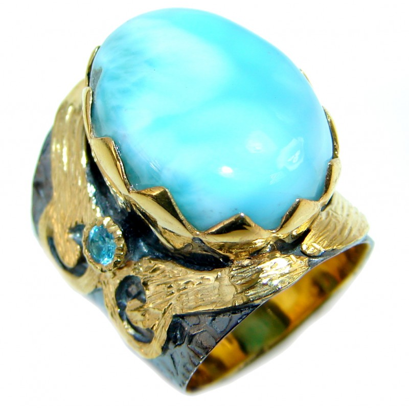 Vintage Style Larimar Gold Rhodium plated over Sterling Silver Ring size 5 1/2
