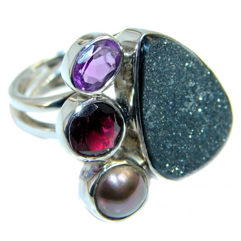 Mysterious Titanum Druzy Sterling Silver ring size adjustable
