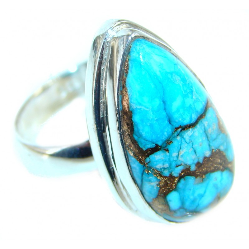 Simple Design Blue Copper Turquoise Sterling Silver