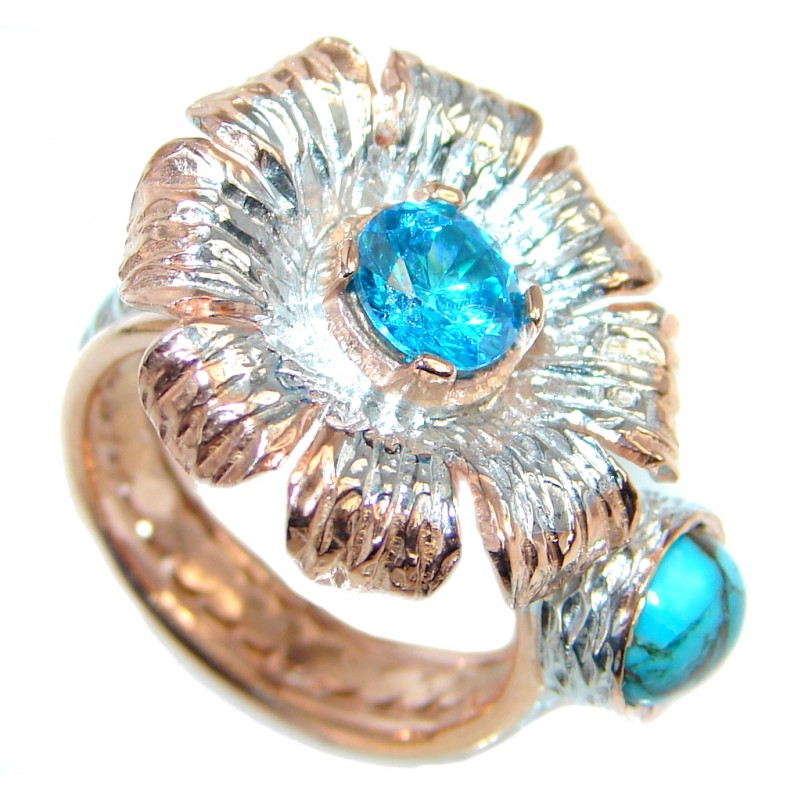 Daisy Blue topaz Gold plated over Sterling Silver Ring s. 5 3/4