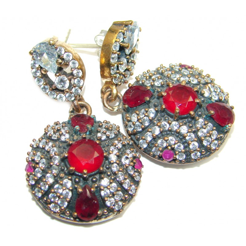 Large Victorian Style created Red Ruby Sterling Silver chandelier earrings