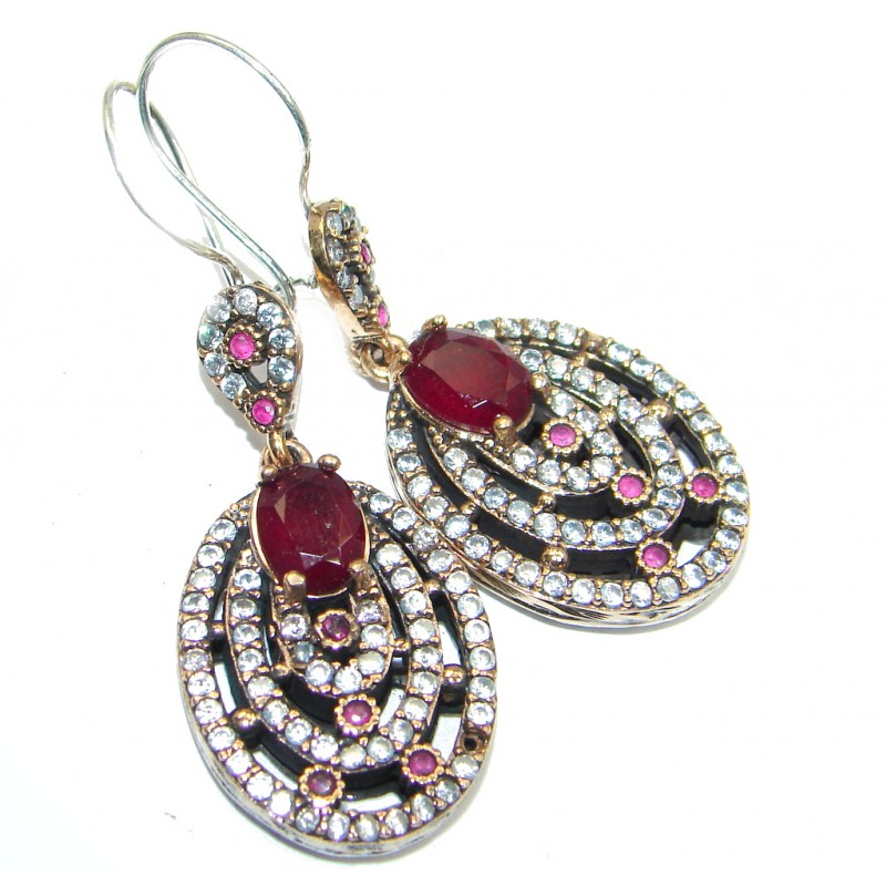Victorian Style created Red Ruby Sterling Silver chandelier earrings