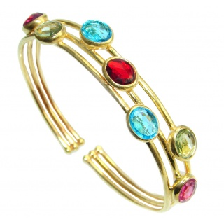 Luxury Paradise simulated Gemstones Gold plated over Sterling Silver Bracelet