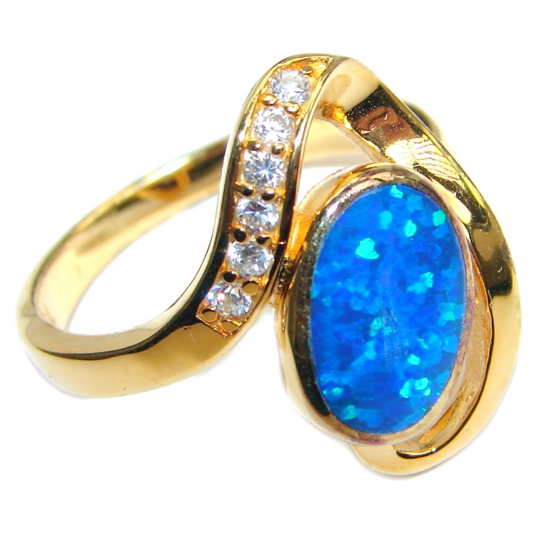 Japanese Fire Opal Cubic Zirconia Gold plated over Sterling Silver ring s. 8