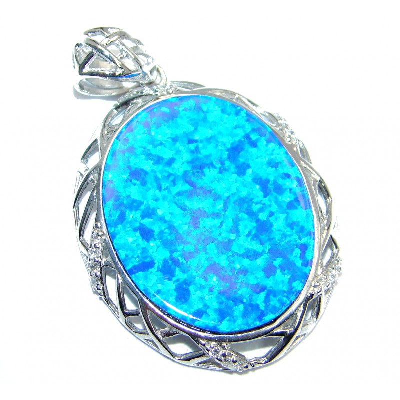 Luxurious Lab. Fire Opal Sterling Silver handmade Pendant