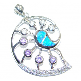 Fancy Style lab. Blue Opal Cubic Zirconia Sterling Silver Pendant