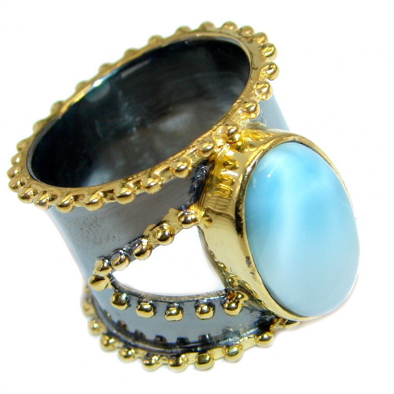 Vintage Style Larimar Gold Rhodium plated over Sterling Silver Ring size 7