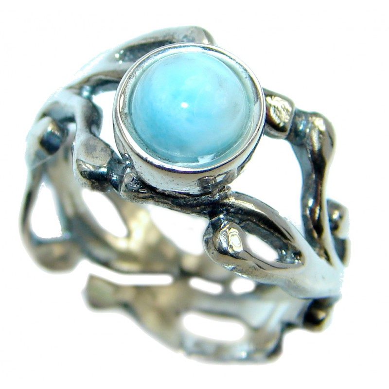 Genuine Larimar Oxidized Sterling Silver handmade Ring size adjustable