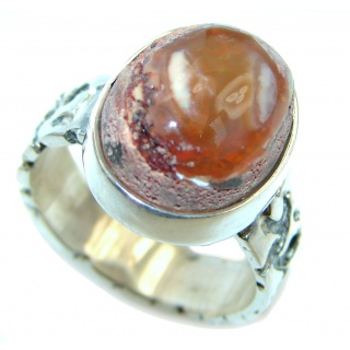 Mexican Fire Opal Oxidized Sterling Silver handmade Ring size 8