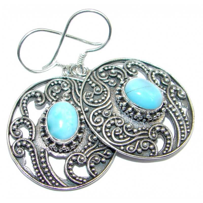 Vintage Style Blue Larimar oxidized Sterling Silver handmade earrings