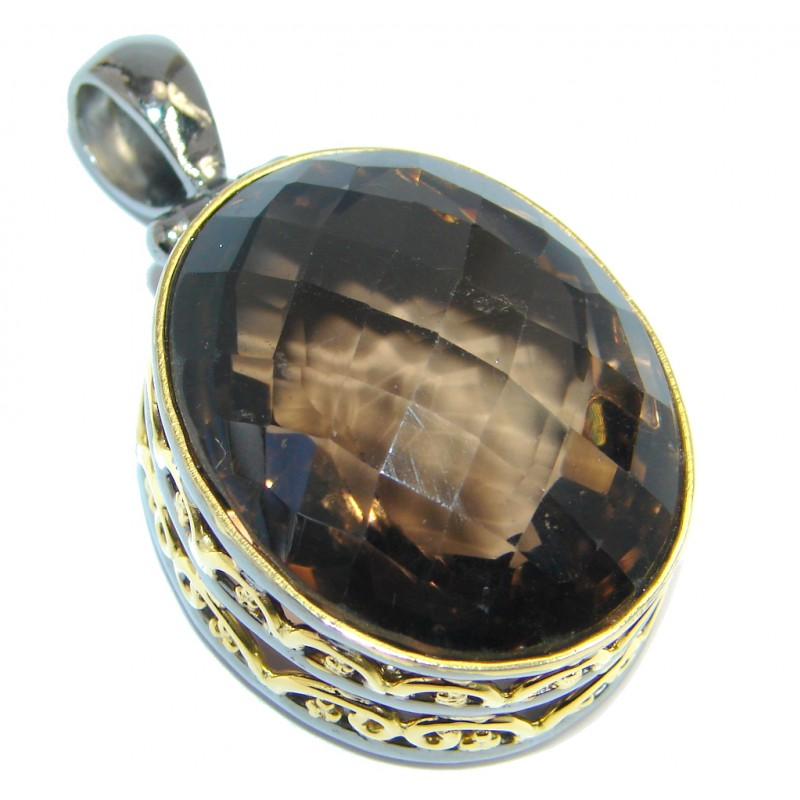 Vintage Beauty Smoky Topaz Gold plated over Sterling Silver handmade Pendant