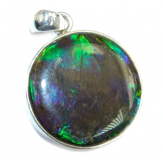One of the kind genuine Ammolite handmade Sterling Silver Pendant
